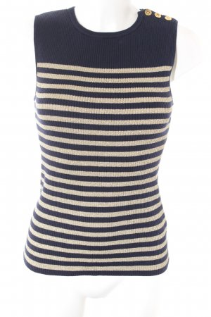 Lauren by Ralph Lauren Knitted Top dark blue-gold-colored striped pattern