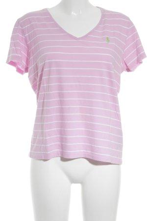 Lauren by Ralph Lauren T-Shirt rosa-weiß Streifenmuster sportlicher Stil