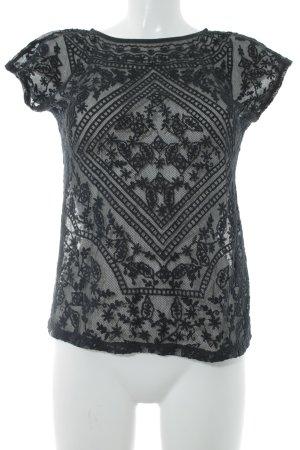 Lauren by Ralph Lauren T-Shirt schwarz Spitzen-Optik