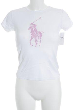 Lauren by Ralph Lauren T-Shirt weiß-rosa grafisches Muster Casual-Look