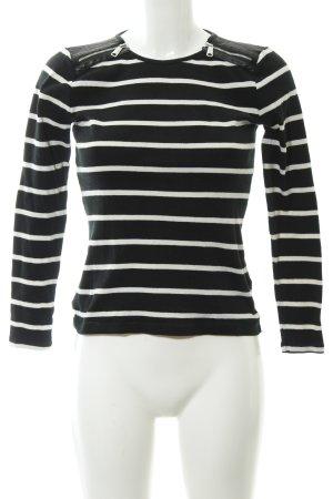 Lauren by Ralph Lauren Top à col bateau noir-blanc rayures horizontales