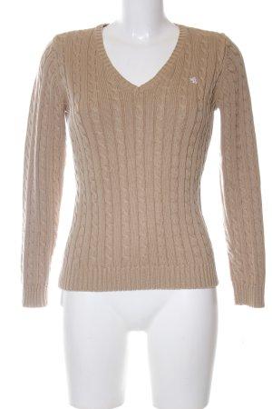 Lauren by Ralph Lauren V-Ausschnitt-Pullover bronzefarben Zopfmuster Casual-Look