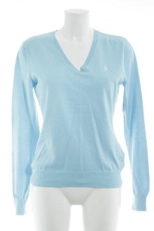Lauren by Ralph Lauren V-Ausschnitt-Pullover babyblau Casual-Look