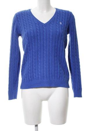 Lauren by Ralph Lauren V-Ausschnitt-Pullover blau Zopfmuster Casual-Look