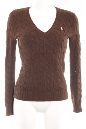 Lauren by Ralph Lauren V-Neck Sweater black brown fluffy