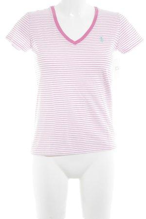 Lauren by Ralph Lauren V-Ausschnitt-Shirt pink-rosé Streifenmuster
