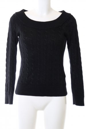Lauren by Ralph Lauren Cable Sweater black cable stitch casual look
