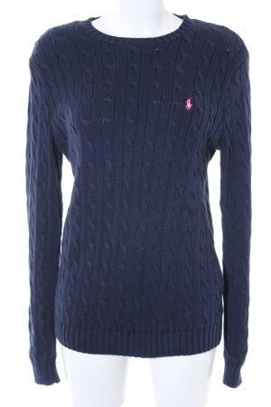 Lauren by Ralph Lauren Maglione intrecciato blu scuro-rosa stile casual