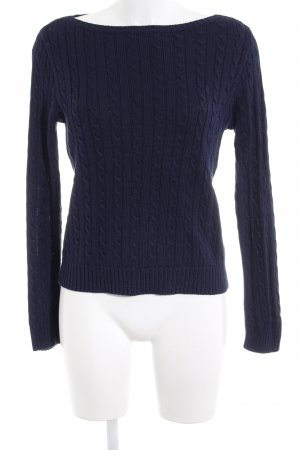 Lauren by Ralph Lauren Cable Sweater dark blue cable stitch casual look