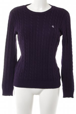 Lauren by Ralph Lauren Cable Sweater dark violet cable stitch business style