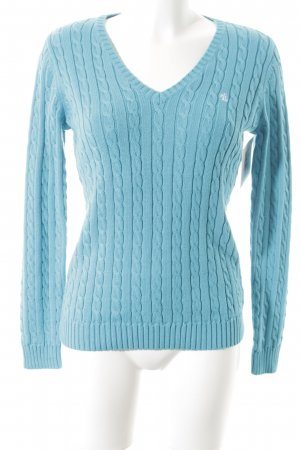 Lauren by Ralph Lauren Cable Sweater light blue cable stitch business style