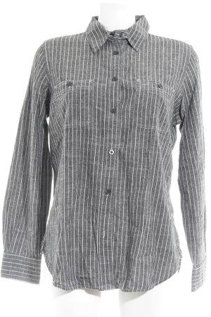 Lauren Jeans Co. Ralph Lauren Hemd-Bluse grau-weiß Streifenmuster Casual-Look