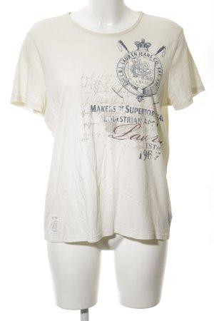 Lauren Jeans Co. Ralph Lauren T-Shirt wollweiß-blau Motivdruck Casual-Look