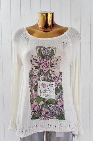 LAUREN MOSHI Damen Pullover Mod. Helena Love Perfume Ecru Rosa Grün Gold Gr.XS-S