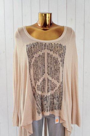 LAUREN MOSHI Damen Pullover Strickpullover Baumwolle Beige Schwarz Peace XS/S