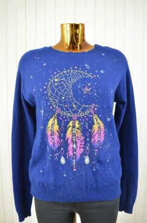 LAUREN MOSHI Damen Pullover Strickpullover Kaschmir Blau Print Sternenfänger M