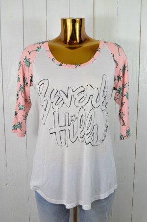 LAUREN MOSHI Damen Shirt 3/4-Arm Mod.Frankie Berverly Hills Palmen Pink Weiß M