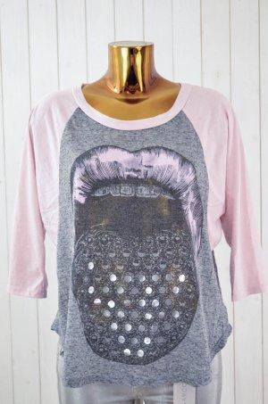 LAUREN MOSHI Damen Shirt 3/4-Arm Rosa Grau Melange Zunge Munde Metallic Gr.M