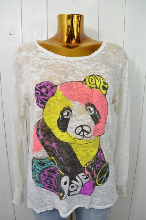 LAUREN MOSHI Damen Shirt Ausbrenner Weiß Print Teddy Rundhals Langarm Gr.XS-S