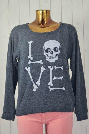 LAUREN MOSHI Damen Sweatshirt Anthrazit Polyester Rundhals Baumwolle Print Gr.S