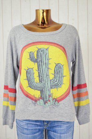 LAUREN MOSHI Damen Sweatshirt Grau-Grün Print Kakteen Bunt Modal Polyester Gr.S