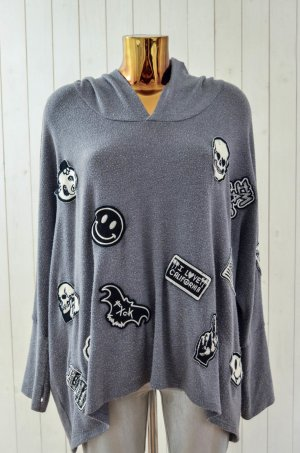 LAUREN MOSHI Damen Sweatshirt Kapuze Hoodie Grau Patches Used Look Skull XS/ S