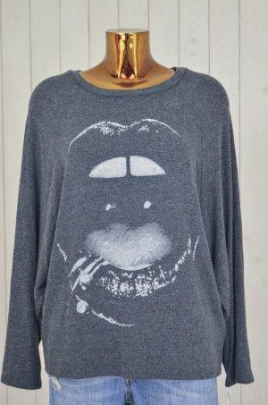 LAUREN MOSHI Damen Sweatshirt Mod.Semira Lip Piercing Black Anthrazit Print Gr.M