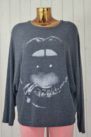 LAUREN MOSHI Damen Sweatshirt Mod.Semira Lip Piercing Black Anthrazit Print Gr.S