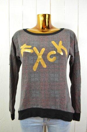 LAUREN MOSHI Damen Sweatshirt Rundhals Kariert Print Schwarz Rot Grün Gold XS-S
