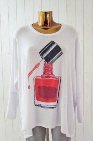 LAUREN MOSHI Damen Sweatshirt Rundhals Used Look NAIL POLISH White Red Gr. XS/S