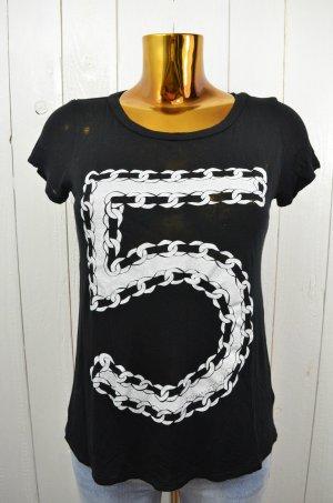 LAUREN MOSHI Damen T-Shirt Mod. 5 Chains Fünf Five Ketten Schwarz Weiß Gr. M