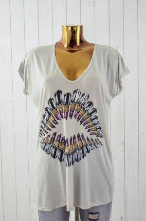 LAUREN MOSHI Damen T-Shirt Mod.Pink Lipstick Lip Micro Modal Beige Bunt XS