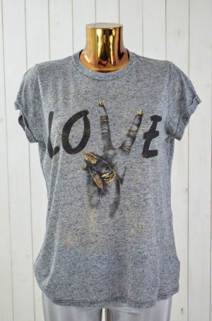 LAUREN MOSHI Damen T-Shirt Rundhals Kurzarm Baumwolle Polyester Grau Print Gr.S
