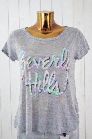 LAUREN MOSHI Damen T-Shirt Rundhals Kurzarm Micro Modal Grau Beverly Hills Gr.S