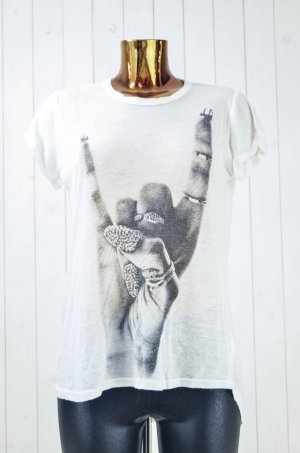 LAUREN MOSHI Damen T-Shirt Rundhals Kurzarm Rayon Polyester Ecru Schwarz Print S