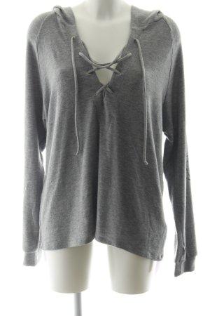 Lauren Moshi Kapuzensweatshirt hellgrau-schwarz Schriftzug gestickt Casual-Look