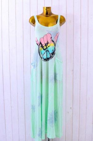 LAUREN MOSHI Kleid Long Dress Hippie Batik Mint Bunt Peace Sign Träger Gr.S (XS)