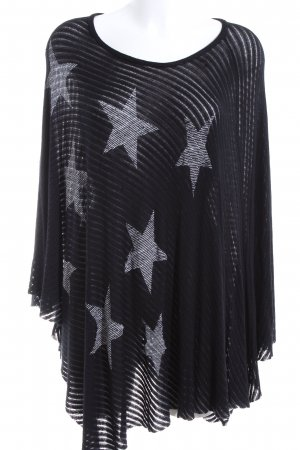 Lauren Moshi Poncho black-white allover print casual look
