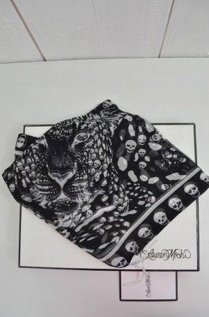 LAUREN MOSHI Schal Tuch Mod. VICTORIA Seide Totenkopf Print Schwarz Weiß Neu