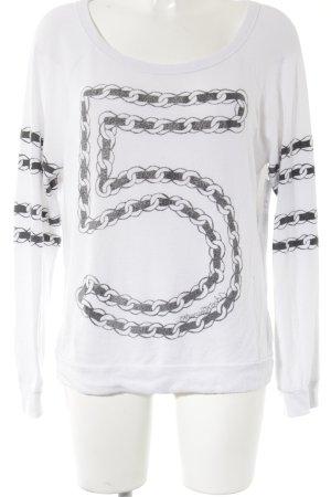 Lauren Moshi Strickpullover weiß-schwarz Motivdruck Street-Fashion-Look