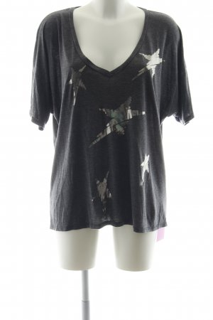 Lauren Moshi T-Shirt dunkelgrau-silberfarben Schriftzug gedruckt Casual-Look