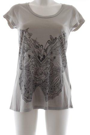 Lauren Moshi T-Shirt grau-schwarz Motivdruck Casual-Look