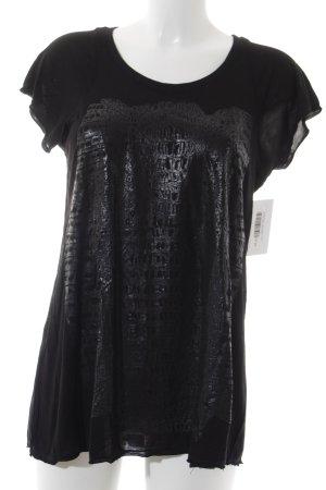 Lauren Moshi T-Shirt schwarz-grau Animalmuster Animal-Look