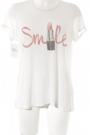 Lauren Moshi T-Shirt weiß Motivdruck Casual-Look
