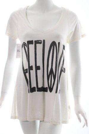 Lauren Moshi T-Shirt wollweiß-schwarz Schriftzug gedruckt