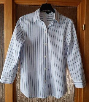 Lauren Ralph Lauren Bluse Hemdbluse Gestreift Business 3/4 Ärmel XS weiß-blau