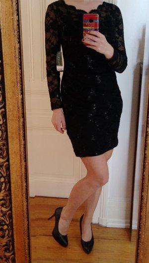 Lauren Ralph Lauren Kleid Cocktailkleid Spitze Pailletten Schwarz Neu XS S 36