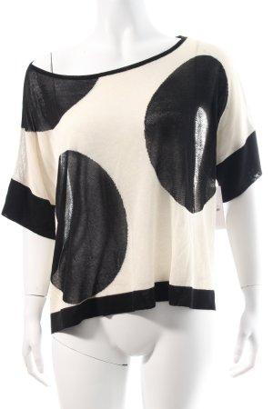 Lauren Vidal Kurzarmpullover schwarz-wollweiß schlichter Stil