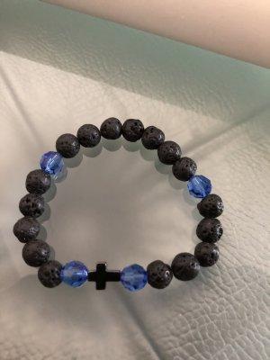 Lava Armband mit Swarovski blauen Perlen neu