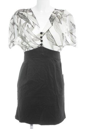Lavand Blusenkleid schwarz-hellbeige abstraktes Muster Business-Look
